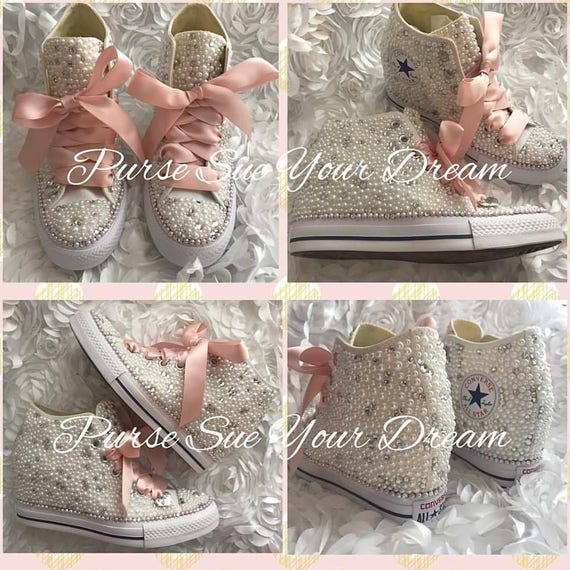 SWAROVSKI CRYSTAL and PEARL Converse Chuck Taylor Lux Wedge | Etsy