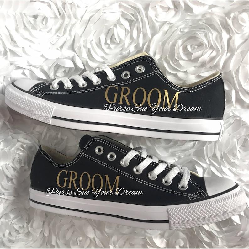 6283e0d1b77ba Custom Personalized GROOM Wedding Converse Shoes - GROOM Wedding Shoes -  Custom Converse - Custom Shoes