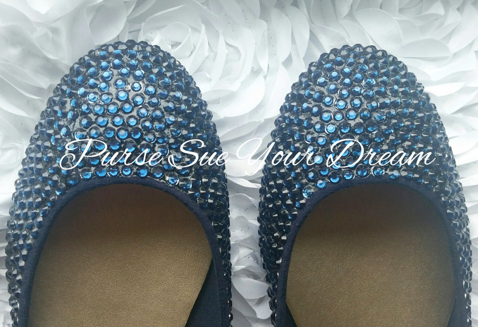 custom navy swarovski crystal rhinestone ballet flat shoes - wedding shoes - wedding flats shoes - wedding party shoes - bridal