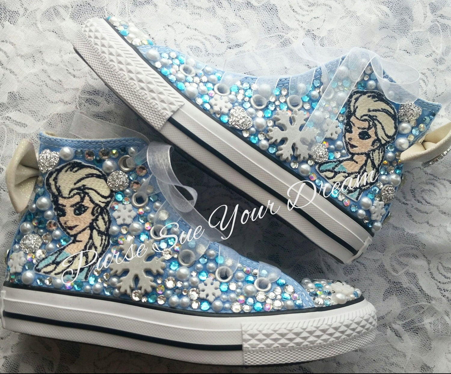 40781dcad2b6a4 Disney Frozen Themed Custom Crystal Rhinestone Converse Shoes