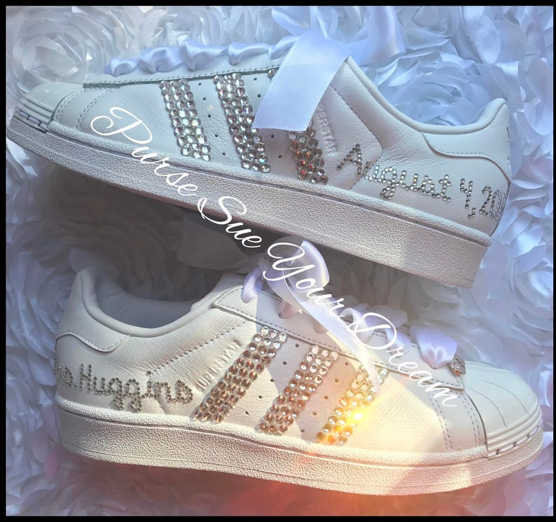 size 40 7b57a 445ed Swarovski Crystal Design Bridal Adidas Superstar Wedding Shoes   Etsy