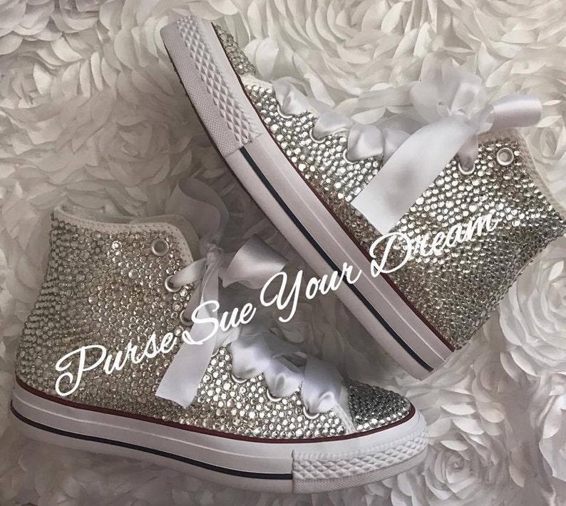 1064994617fa Swarovski Crystal Rhinestone High Top Converse Shoes Wedding