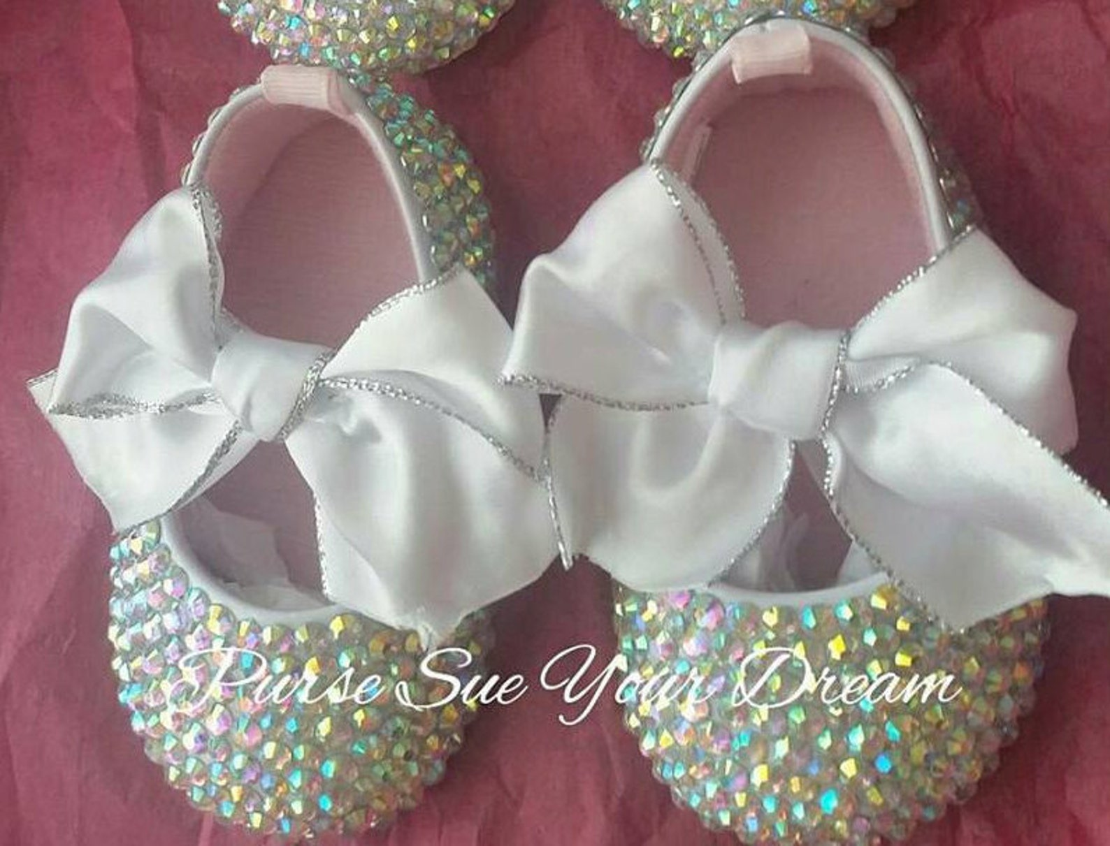 crystal swarovski rhinestone baby ballet shoes - swarovski baby shoes - christening/baptism/pageant/wedding shoes - wedding shoe