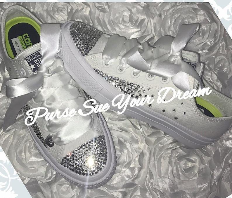c6f15973c87 Custom Swarovski Crystal Bridal Converse Wedding Shoes