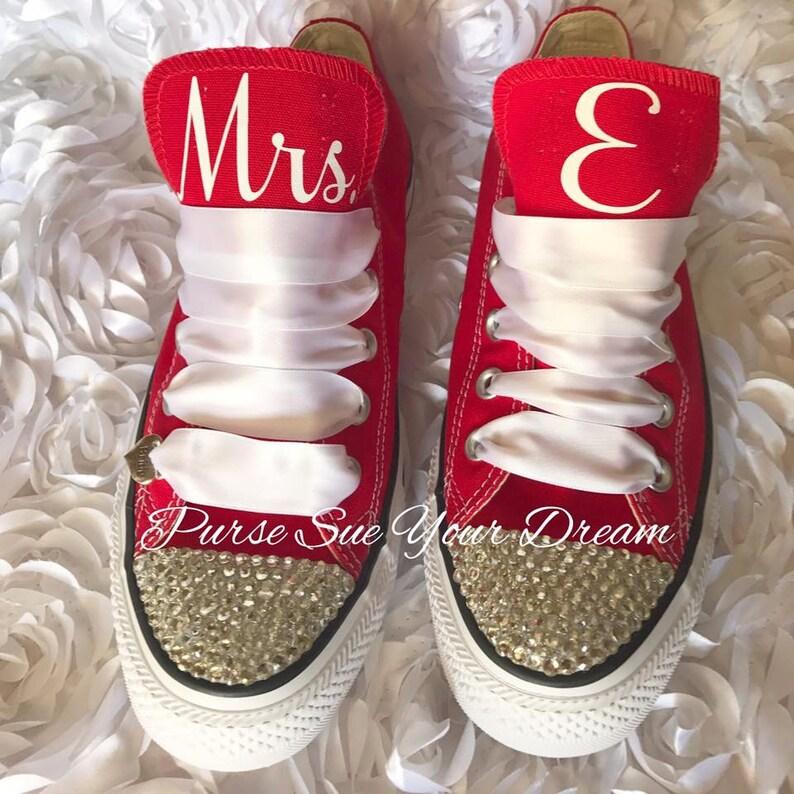 6c249f46ea0 Custom Bridal Converse Wedding Shoes Swarovski Crystal