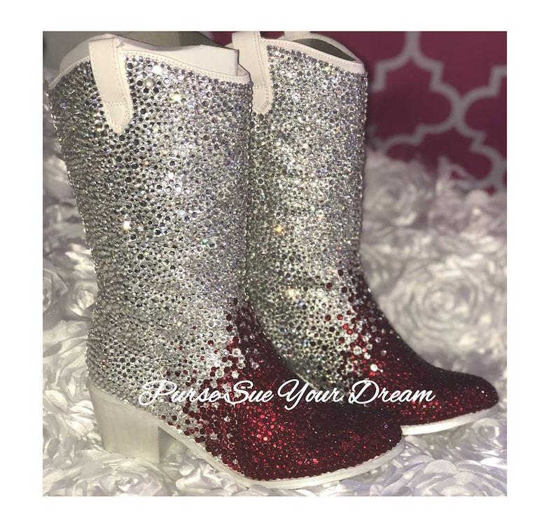 c83c45d1cb4 Ombre' Swarovski Crystal Design Wedding White Cowboy Boots - Swarovski  Wedding Cowboy Boots - Bling Cowboy Boots - Bridal Boots