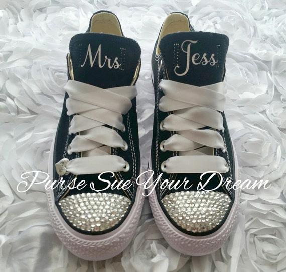 Individuelle Hochzeits Converse Schuhe Swarovski Kristall Schuhe benutzerdefinierte Swarovski Converse Schuhe Hochzeit Braut zu sein
