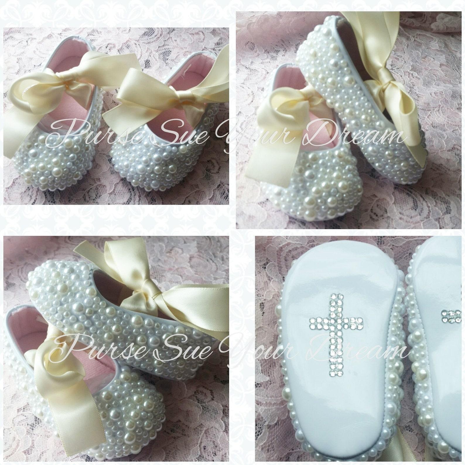 custom pearl designed ballet flats - baptism - baby blessing - wedding shoes - flower girl - christening - custom infant shoes