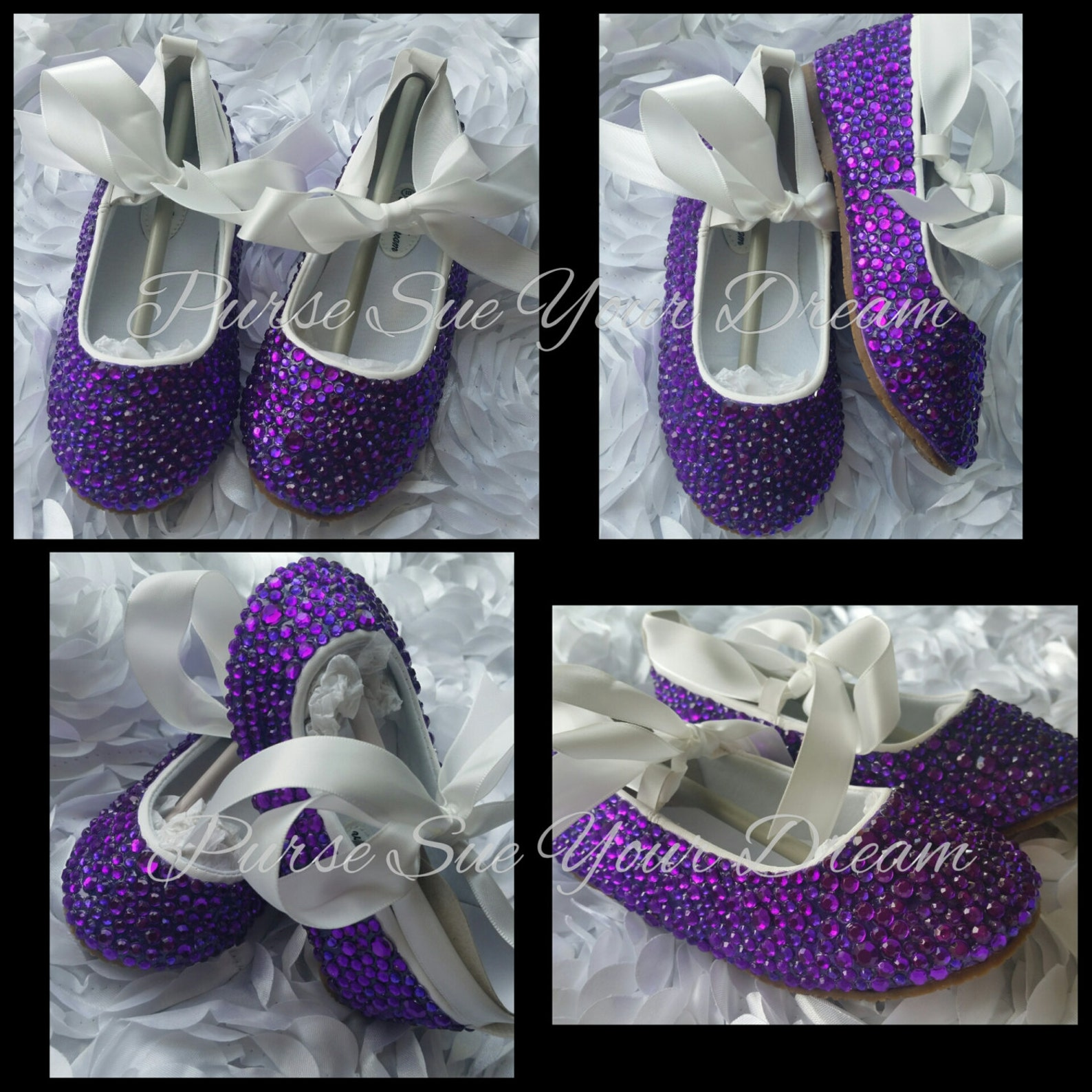 custom amethyst purple swarovski crystal rhinestone ballet flat shoes - wedding shoes - wedding flats - wedding party shoes