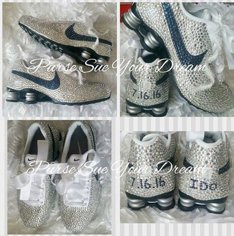 Custom Swarovski Crystal Designed Nike Shox Shoes Swarovski  d45cae982
