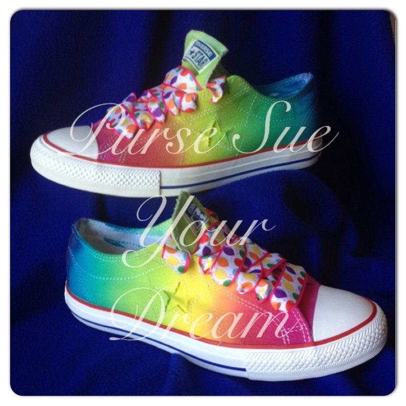 189a7020a193 Custom Tie Dye Converse Made To Order Rainbow Design Tie