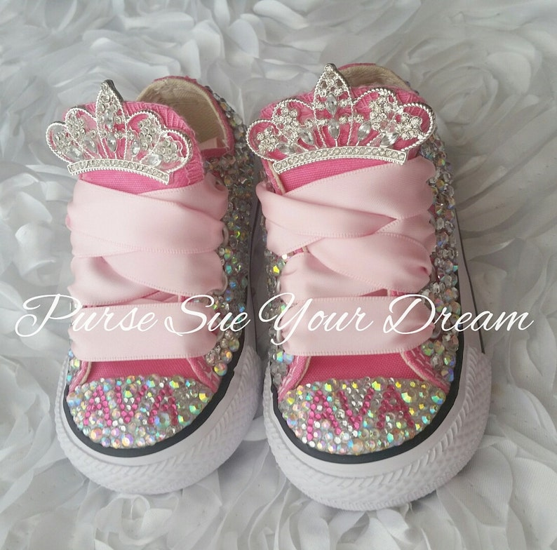0d585f699f45 Swarovski Crystal Design Princess Custom Converse Shoes