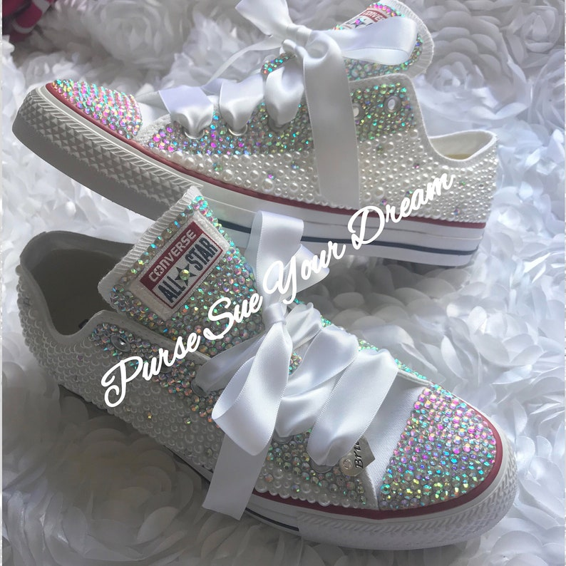 2a835083804e Bridal Pearl and Crystal Rhinestone Converse Wedding Shoes