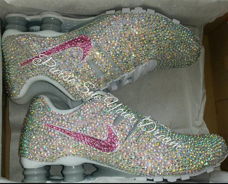 Crystal Rhinestone Nike Shox Designed Shoes - Swarovski Crystal Designs - Custom  Shoes - Wedding Nikes - Swarovski Nikes 463ddb285