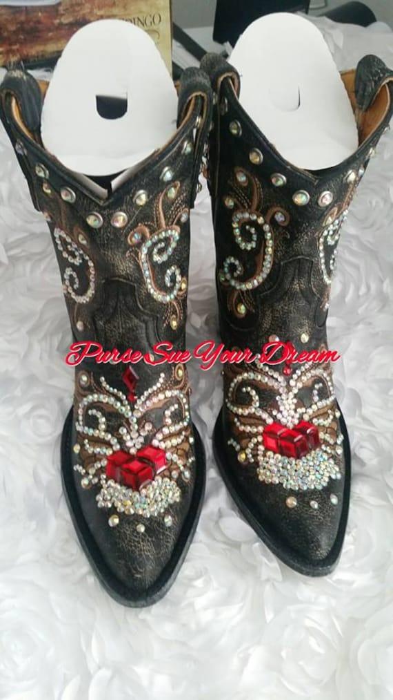 ff5198bb528cd Conçu sur sur sur mesure Swarovski vieux Gringo bottes de Cowboy ...