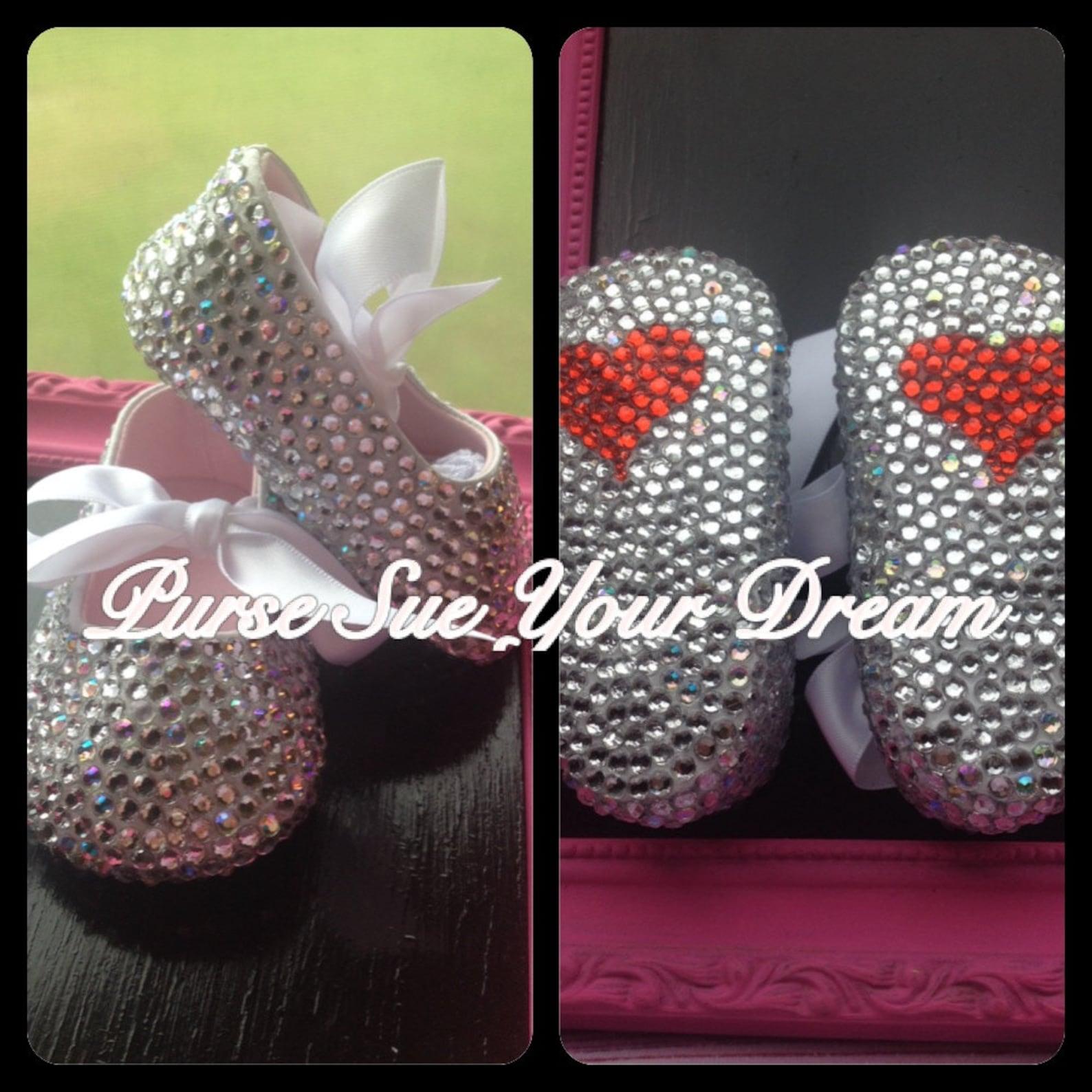 crystal rhinestone infant size ballet shoes - swarovski shoes - christening/baptism/pageant/wedding shoes - advertisement listin