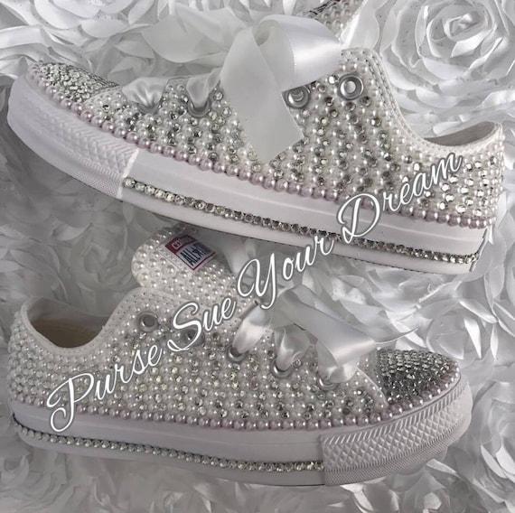 Perle und Kristall Strass Hochzeits Converse Schuhe Custom Brautschuhe Perle Hochzeitsschuhe Converse Perle Converse Hochzeit