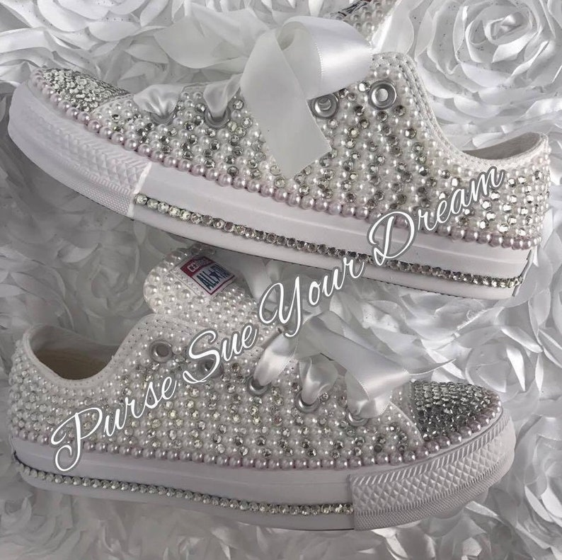 Pearl and Crystal Rhinestone Custom Converse Wedding Shoes  935e31a430