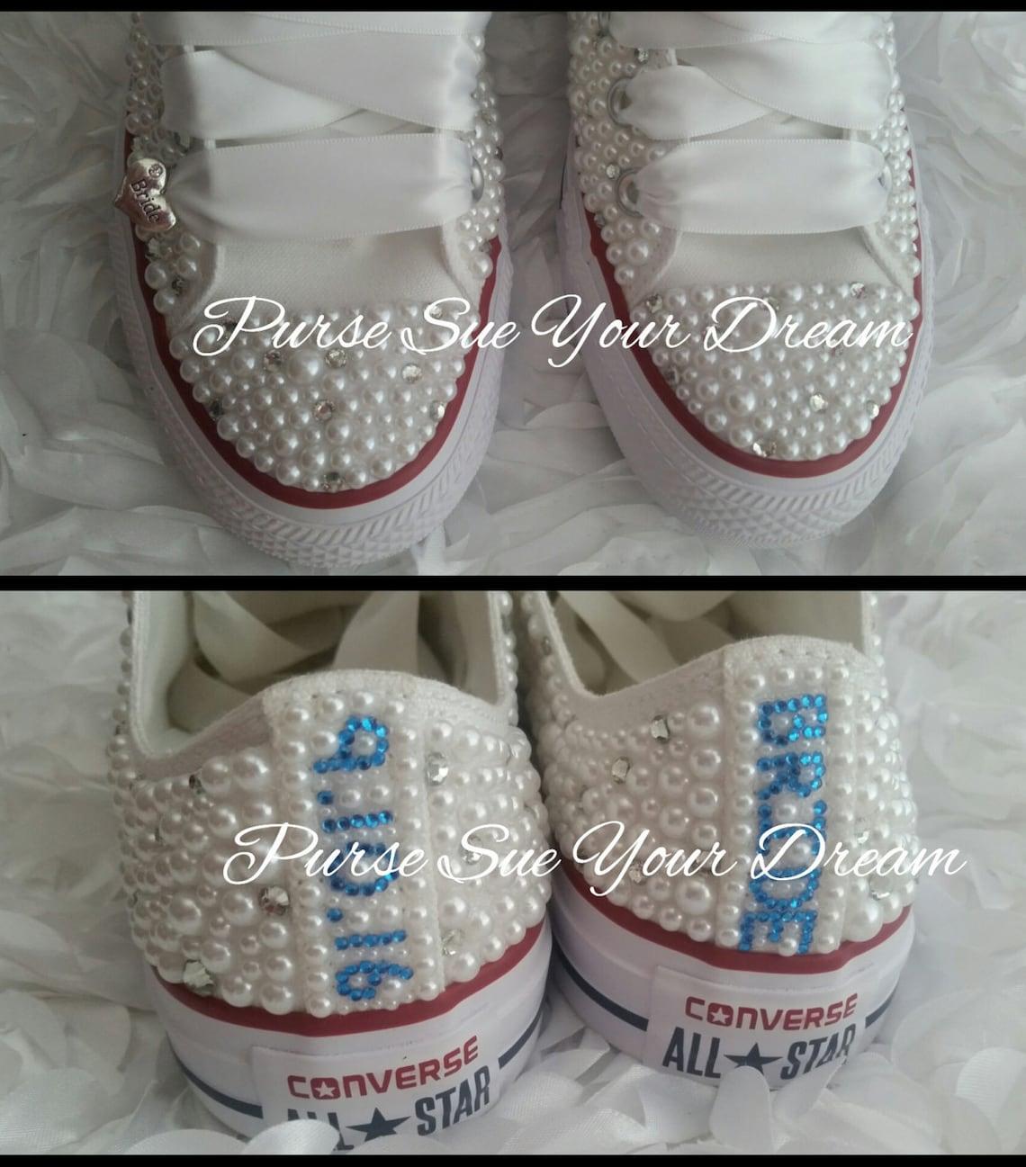 Novia perla y Crystal rhinestone Custom Converse zapatos de boda-custom shoes-zapatos de novia-perla zapatos de boda-boda Converse
