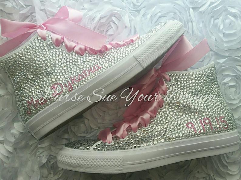 9f3475cc2b719b Custom Swarovski Crystal Rhinestone Hi Top Converse Shoes