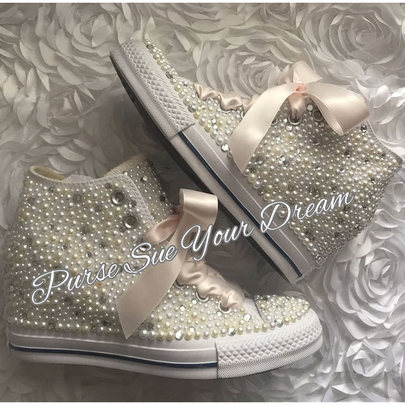 7512eb9e65532c SWAROVSKI CRYSTAL and PEARL Converse Chuck Taylor Lux Wedge