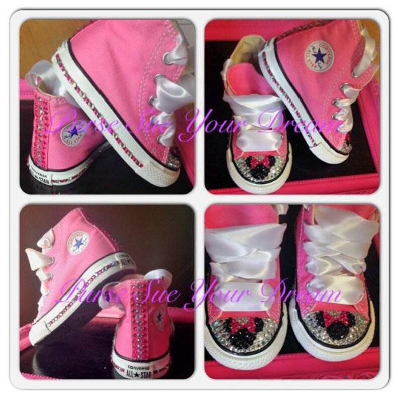 b36c39fc76c5 Disney Minnie Mouse Custom Converse Shoes Swarovski Crystals