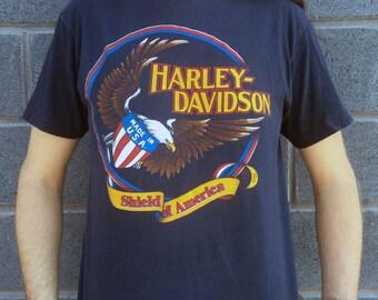 1982 Harley Davidson Motorcycle 'Harley Spoken Here' Latus Motors Spokane, Washington 'Shield of America' Hanes Beefy-T L For Bikers Only
