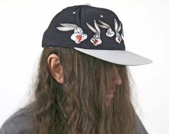 Vintage 1990s Looney Tunes BUGS BUNNY Snapback Ballcap Hat
