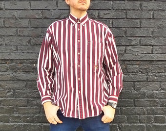 Vintage 1990s Long Sleeve TOMMY HILFIGER Striped Purple Button Up Shirt