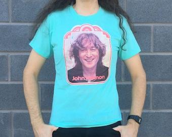 Vintage 1970s Deadstock John Lennon BEATLES T-shirt S (Screen Stars)