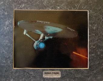 1990s Vintage STAR TREK Chromart Print of the U.S.S. Enterprise NCC-1701 A