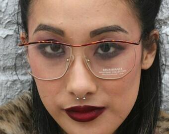 Vintage Unused 1980s Renaissance 'Boutique Collection' Designer Eyeglasses Tortise Shell + Gold Glasses