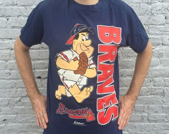 Vintage 1990s MLB Atlanta Braves Fred Flintstone T-Shirt
