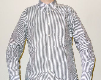 Vintage Long Sleeve TOMMY HILFIGER Striped Seersucker Button Up Shirt L