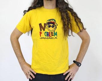 Vintage NO PROBLEM Jamaica Yellow T-shirt S