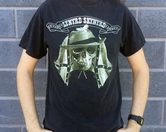 LYNYRD SKYNYRD Confederate Flags and Soldier Skull Black T-shirt Size Large