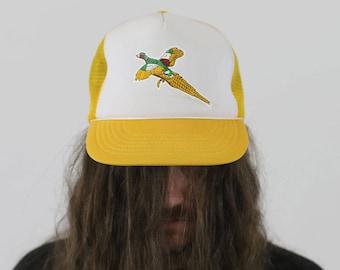 True Vintage 1980s Yellow Duck Pheasant Hunting Cap Snapback