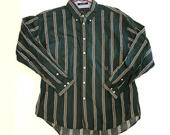 Vintage 1990s Long Sleeve TOMMY HILFIGER Striped Green Yellow Button Up Shirt