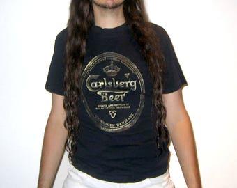 Carlsburg Brewery Denmark T-Shirt Gold on Black Size L