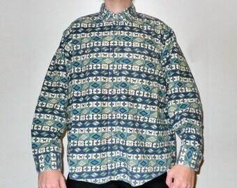 Vintage L.L. Bean Printed Dogs & Geometric Shapes Motif Chamois Flannel Shirt XL