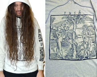 Vintage RUSH - Counterparts Era - Adam & Eve - Slave to the Hormone - Hooded Sweatshirt by Brockum, Tri Blend XL 1993