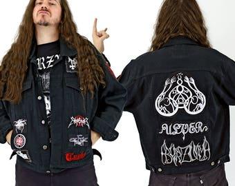 Black Metal Denim Jacket Encrusted w/ Patches: Burzum, Mayhem, Emperor, Venom, Death, Ulver, Taake, Dark Throne & More!