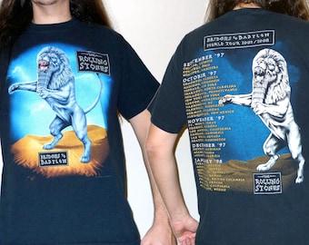 ROLLING STONES: Bridges to Babylon World Tour T-shirt Size L True Vintage 1990s