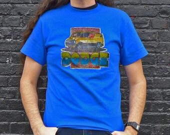 Vintage DODGE Van Iron-on Style Glittery Logo Blue T-shirt Size M