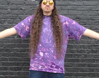 Vintage Lavender Purple Tie Dye T-shirt Size XL