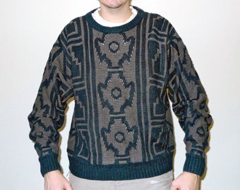 Vintage Navajo / Memphis / Native American Pattern Knit Sweater Black & Golden Brown