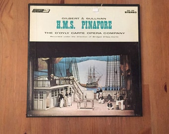 "Gilbert & Sullivan H.M.S. Pinafore D'Oyly Carte Opera Box Set (2) w/booklet (1959) Vintage Vinyl 12"""