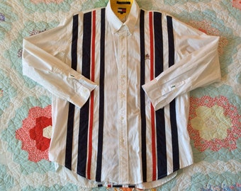 Vintage 1990s Long Sleeve TOMMY HILFIGER Striped American Flag Colors Button Up Shirt