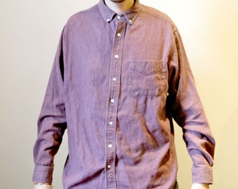 Vintage 1990s Size Large Button Up Dusty Burgundy Denim Shirt