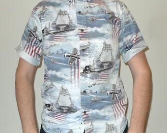 Vintage Hawaiian Shirt Pearl Harbor / WWII / Patriotic Motif by North River S
